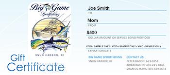 big game fishing gift certificates